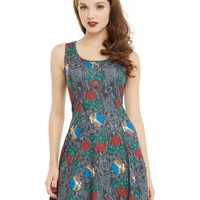 Licensed cool DISNEY Beauty & the Beast Dance Belle Roses Stained Glass Fit Flare DRESS M NEW