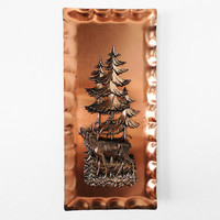 German Copper Metal Wall Art Plaque / Woodland