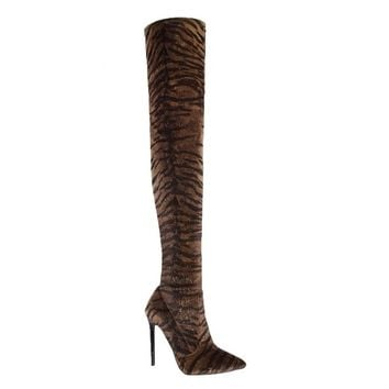 Kiana Tiger Stiletto Thigh High Boots