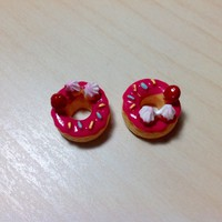 2 pcs Strawberry Donuts with strawberry, whip cream and sprinkles Cabochon Flatbacks 14 x 14 mm