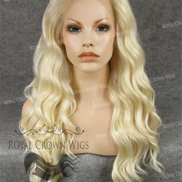 """24"""" Synthetic Lace Front with Wave Texture in Platinum Blonde"""