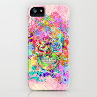 Girly Sugar Skull Pink Glitter Fine Art Paint iPhone & iPod Case by Girly Trend