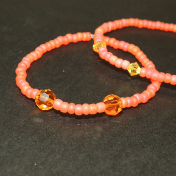 Set of two seed bead and Swarovski crystal bracelets