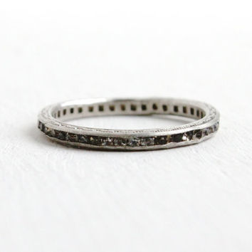 Antique Art Deco Sterling Silver Rhinestone Ring- Size 6 Etched Filigree Eternity Wedding Band 1920s Jewelry