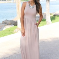 Taupe Maxi Dress with Pockets