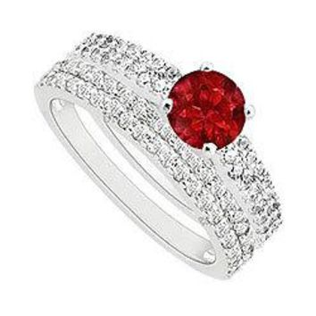 Ruby and Diamond Engagement Ring with Wedding Band Set : 14K White Gold - 1.00 CT TGW