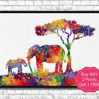 Mom and cute Baby Elephant 4 Watercolor print  Animal Wall decor Children Boy Girl Baby Room Nursery Interior Decor Bedroom Elephant Art