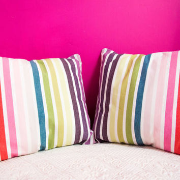 Multi Colored Stripes Pillow .20x20 inch.Decorator Pillow Covers.Printed Fabric Front and Back.Housewares.Home Decor.Cushions.cm