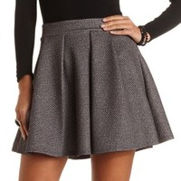 Quilted & Pleated Skater Skirt by Charlotte Russe - Charcoal
