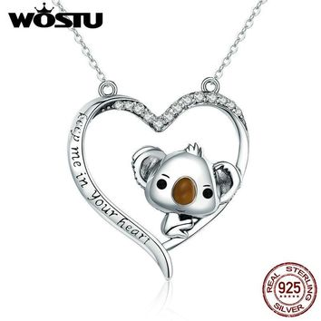 WOSTU High Quality 925 Sterling Silver Cute koala Pendant Necklace For Women Girl Lovely Jewelry Gift For Girlfriend CQN256