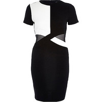 River Island Womens Black mesh panel bodycon dress