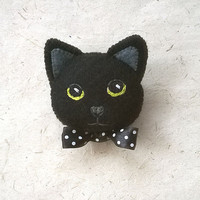 Black Kitty Cat Felt Brooch, Hand Embroidered Pin with Polka Dot Satin Ribbon, Gift for Pet Lover, Cat Lover, Accessory for Halloween