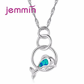 Jemmin 2017 New Arrival Cute Blue Fire Opal Jumping Dolphin Pendant Necklace 925 Sterling Silver Jewelry Women Necklace