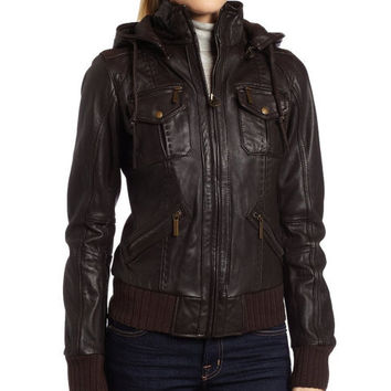 handmade women elegant Brown Hooded Leather Jacket, women Brown Leather Jacket, women leather jacket