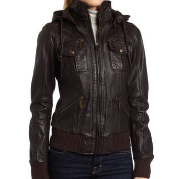 Shop Brown Hooded Leather Jacket on Wanelo