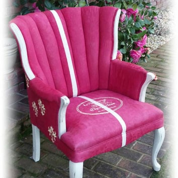 French country accent chair, red accent chair, red chair, stenciled chair, distressed chair, accent chair, red distressed chair, shabby chic