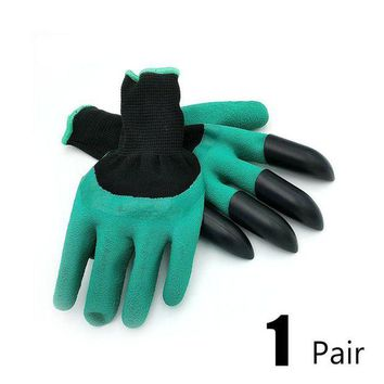 ac VLXC 1 pair new Gardening Gloves for garden Digging Planting with 4 ABS Plastic Claws