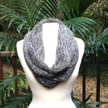 Grey Ombre Gold Metallic Crochet Infinity Scarf, soft grey tone crochet neck warmer scarf, grey crochet infinity scarf
