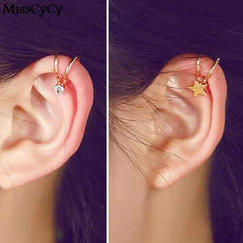 2016 New Fashion Hot Selling Pendientes Jewelry Rhinestone Flowers Star Heart Clip Earrings For Women