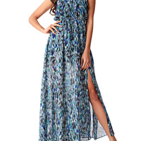 Halter Abstract Printed High Slit Maxi Dress