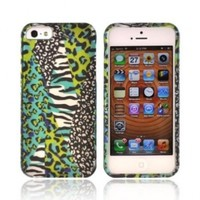 Blue/ Green Animal Print Apple Iphone 5 Rubberized Hard Plastic Snap On Shell Case Cover
