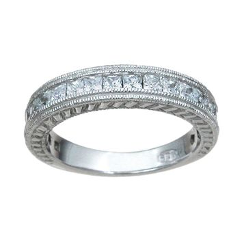 Plutus Brands 925 Sterling Silver Wedding Band 1.5 Carat Weight - Size 9