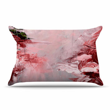 "Ebi Emporium ""Winter Dreamland 5"" Red Gray Pillow Case"