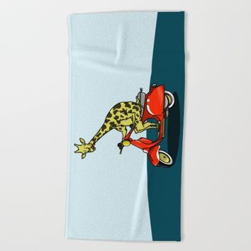 Giraffe On A Vespa Beach Towel by mailboxdisco