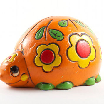 Vintage Hippie Turtle Piggy Bank Orange with Yellow Flowers