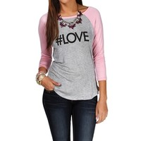 H. Grey/Pink Love Baseball Tee