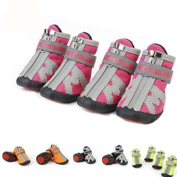 4Pcs/Lot Waterproof Pet Dog Shoe Anti-slip Rain Snow Boot For Small Dogs