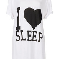 I Heart Sleep Slogan PJ Tee - Lingerie & Sleepwear  - Clothing