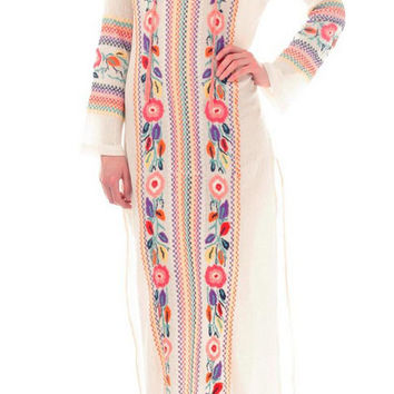 Beige V -Neck Long Sleeve Tribal Embroidered Maxi Dress with Side Slit