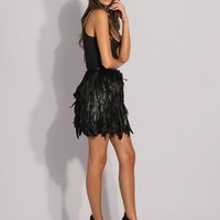 Couture Black Feather KneeHigh Skirt 45cm Length by austineshu
