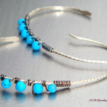 Turquoise Big Oval Sterling Silver Wire Wrapped Hoop Earrings