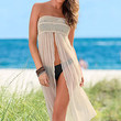 Convertible Beige Cover Up with Slit