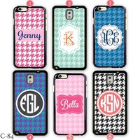 Personalize Samsung Galaxy S5 case Houndstooth iPhone 6 Cover Monogram 5S