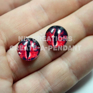 1 Set of Evil Red Dragon Handmade12mm Glass Eyes for Altered Art Jewelry
