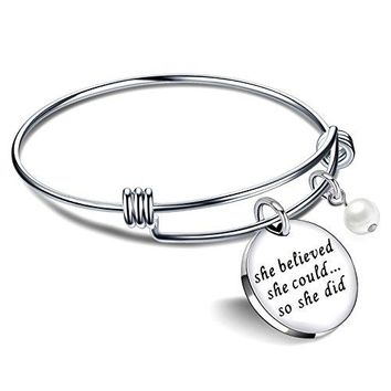 lauhonmin Graduation Gifts Bracelets for Women Valentine Bangle Bracelets for Girl  She Believed She Could So She Did