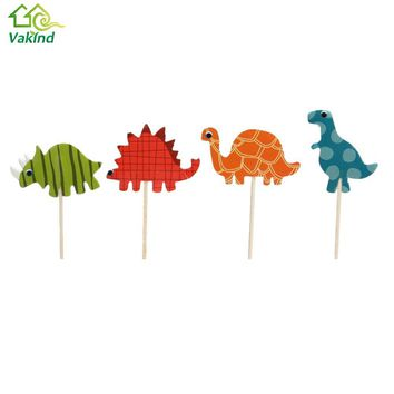 24Pcs/Pack Dinosaur Animal Party Cupcake Topper Picks Decoration for Kids Birthday Party Favors Baby Shower Decoration Supplies