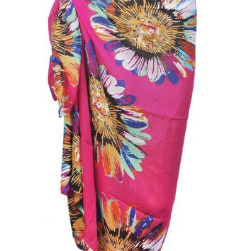 Pareo Colorful Sunflower Pattern Chiffon Beach Scarf Cover Up