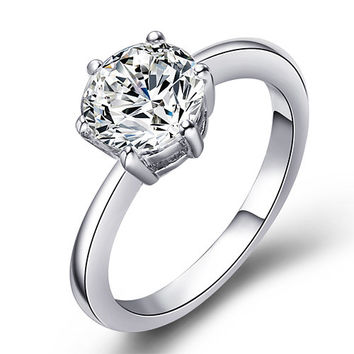 Solitaire Clear Round Swarovski Crystal Engagement/ Promise Ring
