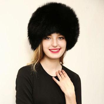 DCCKJG2 2016 Warm Women Hat Good Quality Faux Fur Crochet Beanies Caps Fox Fur Pompom Ball Pendant Russian Style Windproof Ear Prot Hats