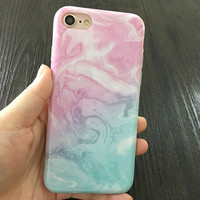 2017 Light Pink and Light Blue with White swirls Phone Case For iPhone 7 7Plus 6 6s Plus 5 5s SE