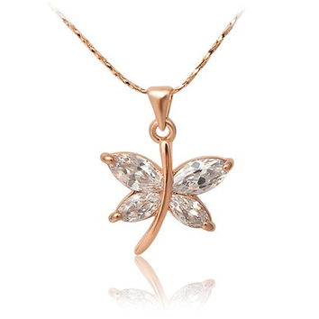 Elegant Dragonfly Crystal Diamond Necklace (Yellow)