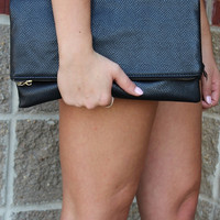 Black Snakeskin Clutch