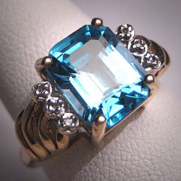 Vintage Blue Topaz Diamond Ring Estate Art Deco Wedding