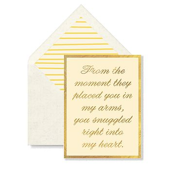From The Moment They Placed You Into My Arms Greeting Card, Single Folded Card or Boxed Set of 8