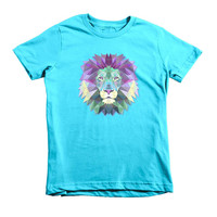 Fractal Geometric Lion Girls T-Shirt