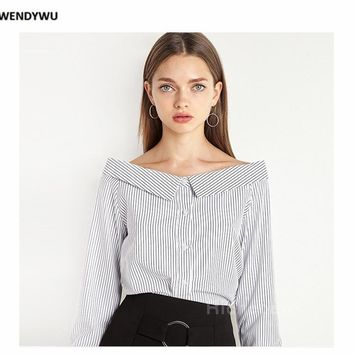 Fashion sexy Strapless vertical striped collar slim single breasted shirt female students